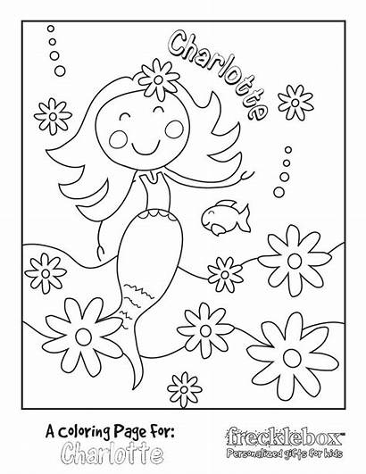 Coloring Pages Mermaid Birthday Personalized Flowers Custom