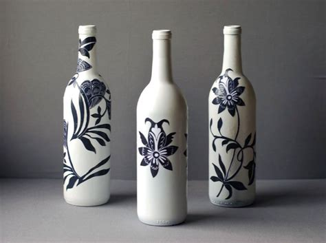 asian style recycled decoupage wine bottle craft