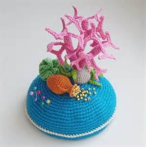 "PDF PATTERN Crochet pin cushion ""Sea treasure"" step by step tutorial OOAK home decor ""sea floor"" / mother's day gift"