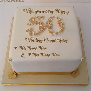 write parents name on 50th wedding anniversary wishes cake With 50th wedding anniversary wishes