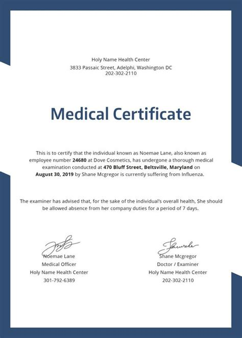 medical certificate templates   word
