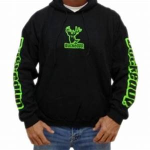 Pullover Hoo Black with Neon Green from Bucked Up Apparel