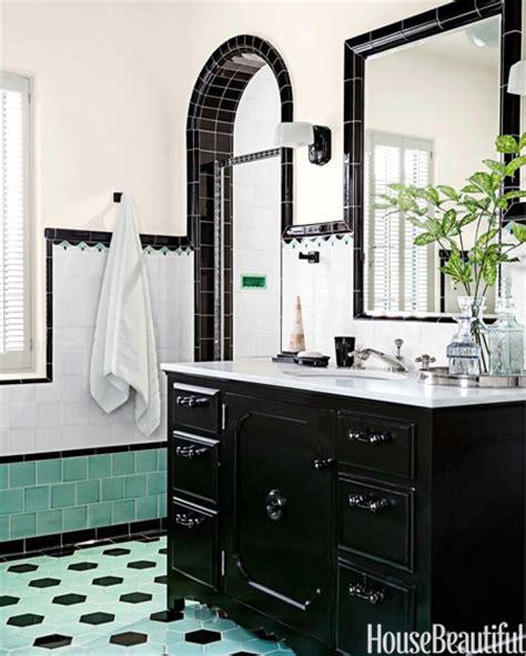 green  black retro bathroom interiors  color