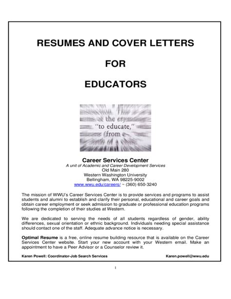 Optimal Resume Wustl by Resumes And Cover Letters For Educators Free