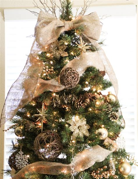 christmas tree decorated with burlap images
