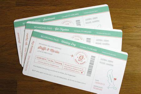 wedding invitation boarding pass hochzeitseinladung