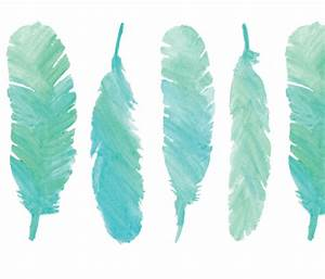 Blue Watercolor Feathers fabric alchemyhome Spoonflower