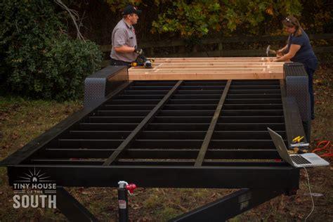 tiny house construction begins subfloor part  tiny