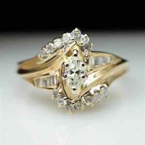 vintage 40ct marquise cut diamond engagement ring 14k With wedding band to fit marquise engagement ring