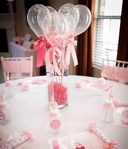 Deco Table Bapteme Fille : d coration de bapteme fille bouquet de ballons comme centre de table ~ Preciouscoupons.com Idées de Décoration