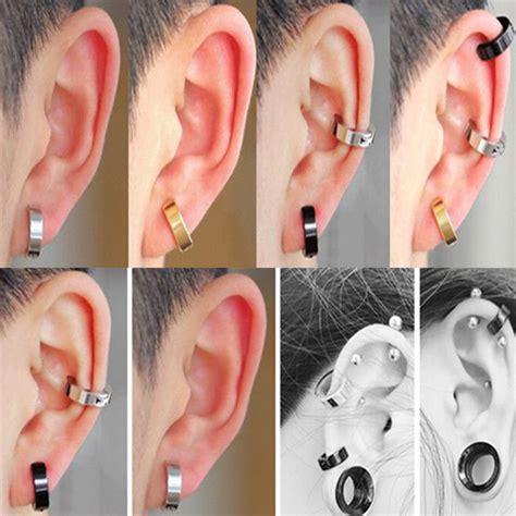 piercing oreille femme 2x homme femme boucles d oreille anneau faux piercing clous helix cartilage stud ebay