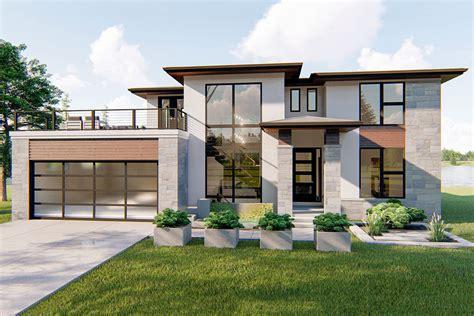 modern prairie style house plans 4 bed modern prairie style house plan with balcony