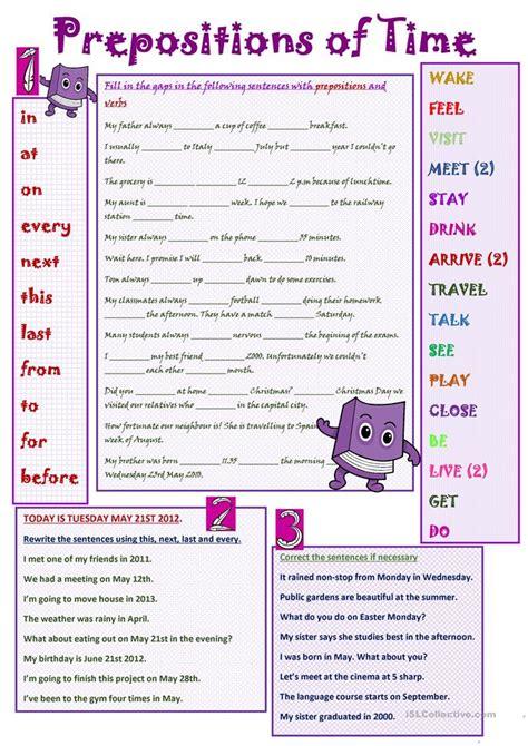 prepositions of time worksheet free esl printable