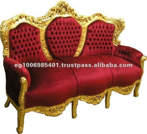baroque red velvet sofa antique french reproduction