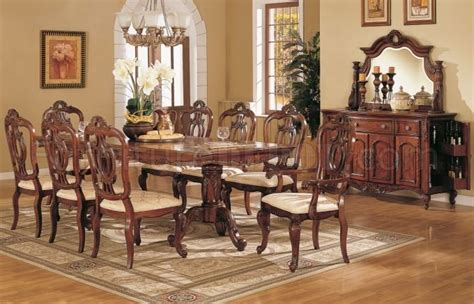 Poundex Sectional Sofa Set by F2168 Queen Style Dining Room In Light Golden Cherry