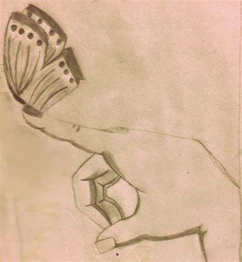 Mano Con Una Mariposa  Dibujos A Lapiz Pinterest