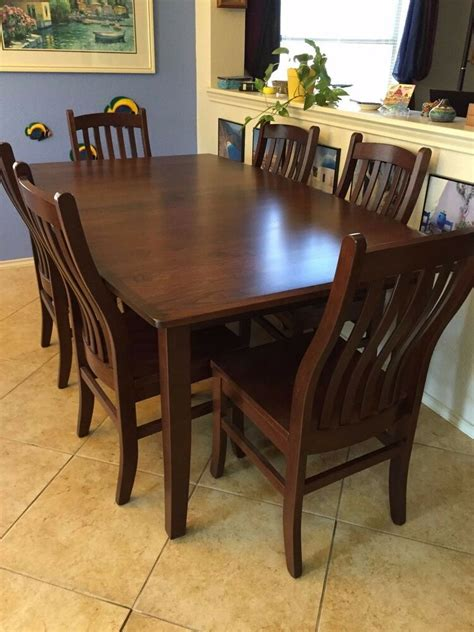 handmade kitchen table and chairs amish cherry wood custom made dining table and 6 chairs ebay