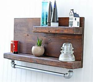 rustic decor shelf with iron pipe towel rack bath shelf bath With bathroom towel racks and shelves