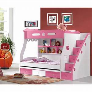 Chic White Pink Girls Bunk Bed Design For Cheerful Girls ...