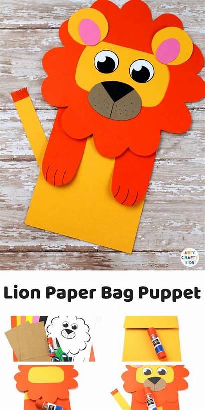 Lion Paper Bag Puppet Craft Crafts Animal