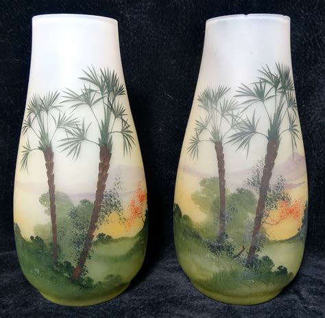 Tropical Vases by Pair Of Glass Vases Painted Tropical Palm Trees Motif