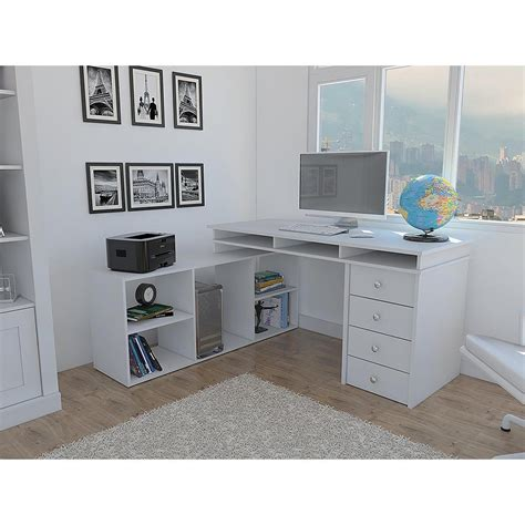 white l shaped desk with drawers houston white l shaped corner desk with 4 drawers elb2603