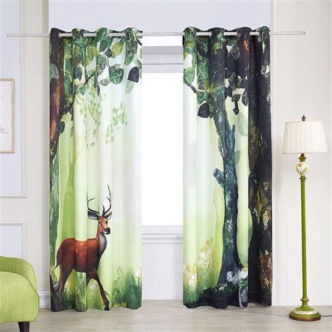 deer drapes window curtain drapes set deer forest decor rustic