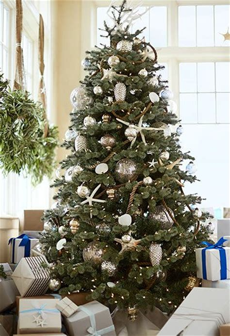 pottery barn tree deck the tree with starfish and mercury glass ornaments