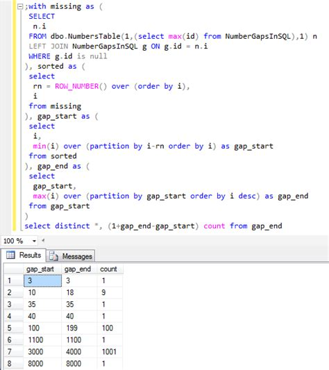 sql  find missing numbers  gaps  sequence