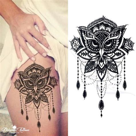 owl mandala temporary tattoo lotus flower beads henna