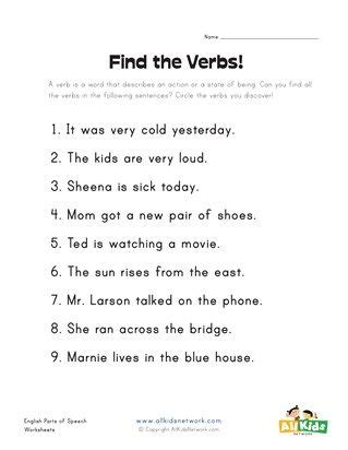 identifying verbs worksheet  grade  thekidsworksheet