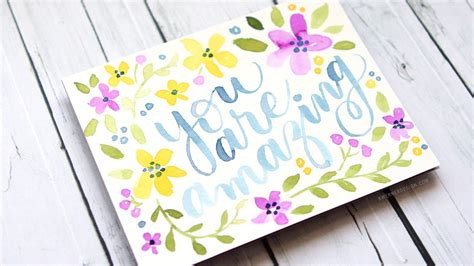 Check spelling or type a new query. Hand Lettered Card with Colorful Watercolor Flowers - YouTube