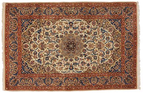 Tappeti Persiani Seta Tappeto Isfahan Iran Centrale Tramato In Seta Con Inserti