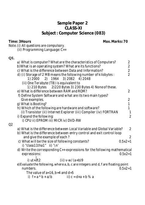 Sample Paper 2 Class Xi (computer Science. Email To Send Resume. Cheer Coach Resume. Resume With Character Reference. Resume Samples For Mba. Resume Objective For High School Student. Resume Cheat Sheet. Easy Way To Do A Resume. Resume Format Sample