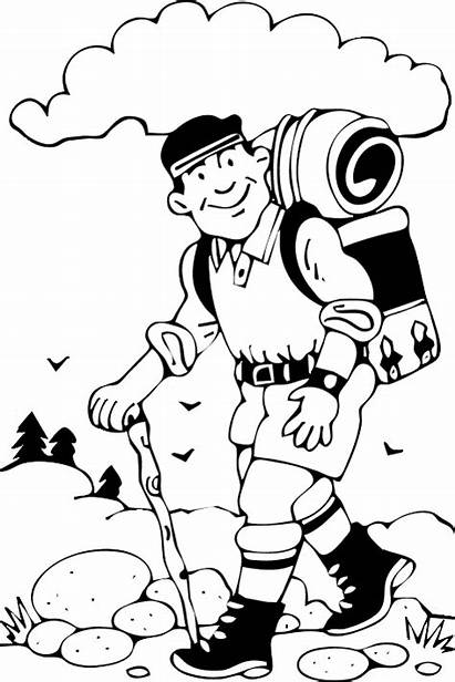 Hike Hiking Clipart Coloring Pages Take Camping
