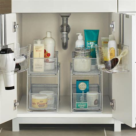 under cabinet storage containers silver 2 drawer mesh organizer the container store