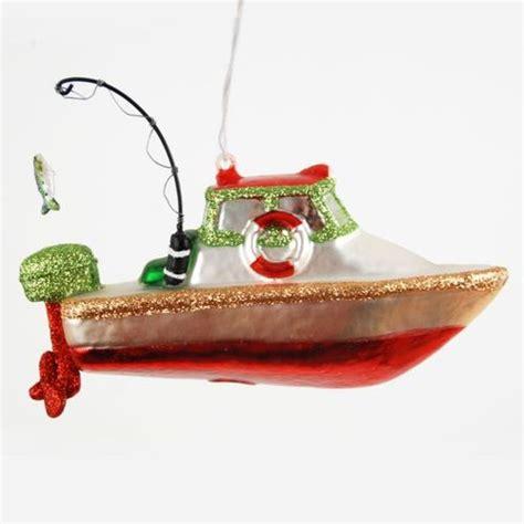 Fishing Boat Christmas Ornament by Deep Sea River Lake Fishing Boat Christmas Holiday Tree