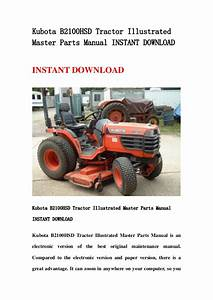 Kubota B2100 Hsd Tractor Illustrated Master Parts Manual