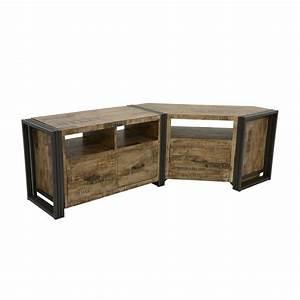 Meuble Tv Metal : meuble tv bois recycl blanchi et m tal noirci 3 tiroirs 2 niches 120x40x55cm docker ~ Teatrodelosmanantiales.com Idées de Décoration