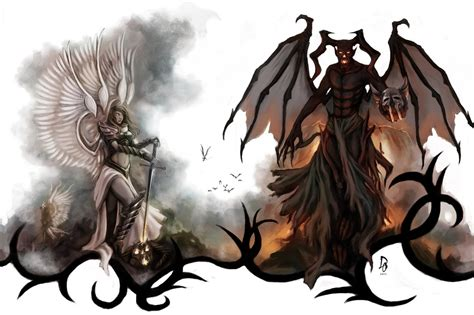 Angel And Demons Wallpaper Angels And Demons Tattoo Design By Theechodragon On Deviantart