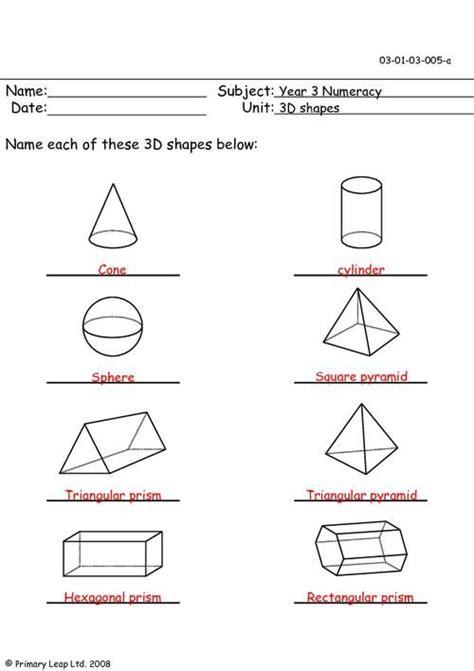 shape worksheets year 2 3d shapes worksheet year 2 shapes 3d