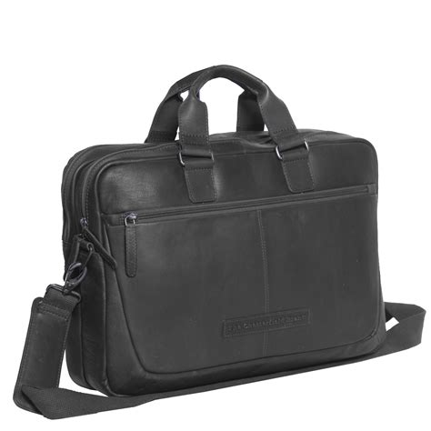 Leather Laptop Bag Black Seth