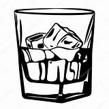 Whiskey Glass Ice Vector Illustration Drawing Alcohol Depositphotos sketch template
