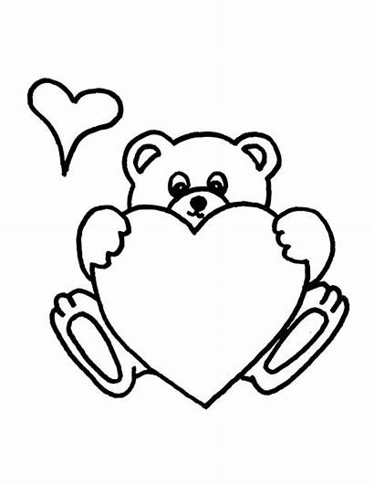 Teddy Bear Coloring Pages Heart Holding Valentine