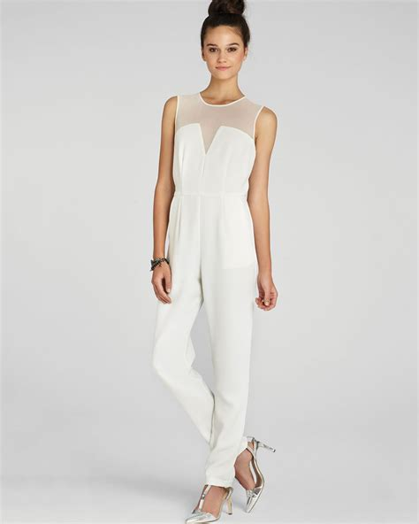 white jumpsuits for bcbgeneration structured sheer jumpsuit in white lyst