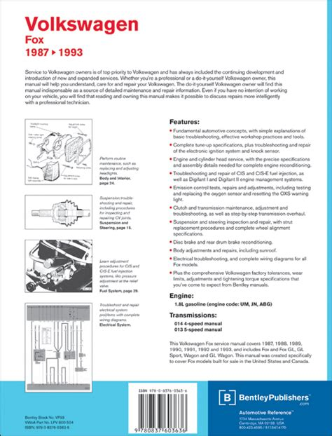book repair manual 1987 volkswagen fox transmission control back cover vw volkswagen fox service manual 1987 1993 bentley publishers repair manuals
