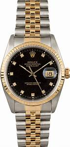 Rolex Two-Tone Datejust 16233 Black Diamond Dial