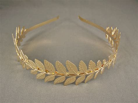 Gold Shiny Laurel Leaf Crown Leaves Headband Hair Band