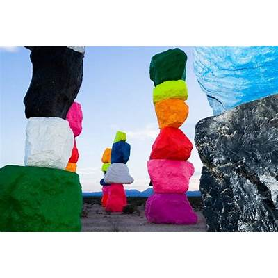 Ugo Rondinone Seven Magic Mountains art installation in