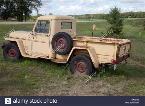 vintage willys jeep pickup truck  sale  pixie woods sales stock photo  alamy